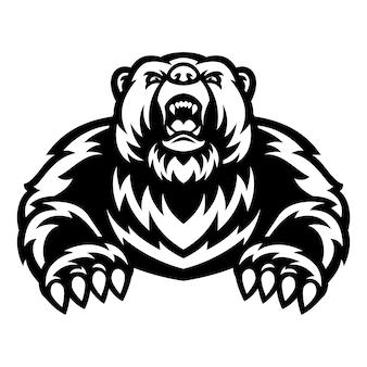 Логотип талисмана медведя гризли черно-белый