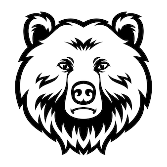 Медведь голова талисман логотип черно-белый