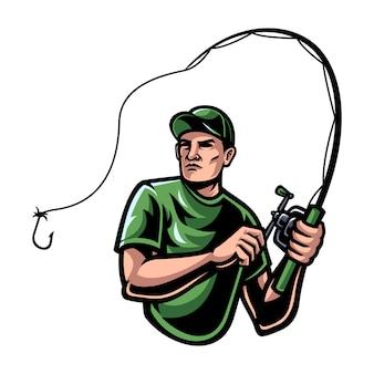 Иллюстрация человека рыболовства