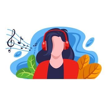 若い女の子は音楽フラットイラストを聴いて楽しむ