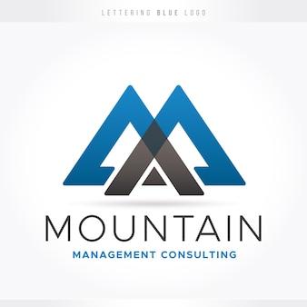 青い文字のロゴ