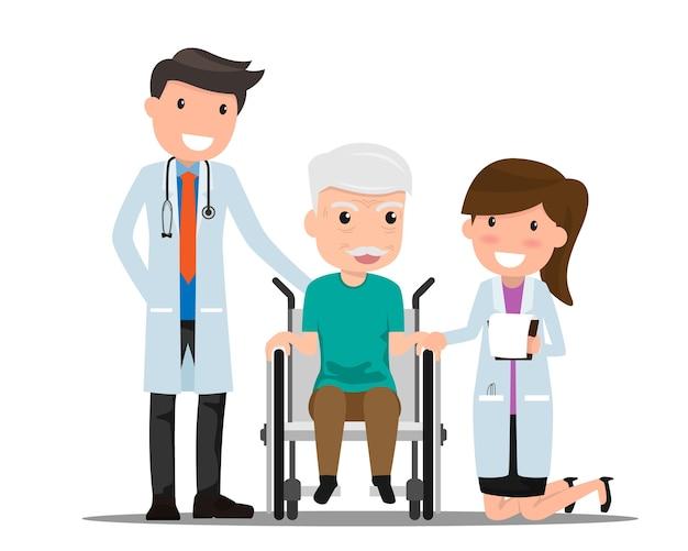 医者と高齢者の患者
