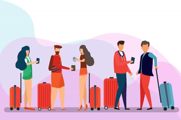 旅行者の人々、漫画のキャラクターのグループ。男、女、孤立した背景に荷物を持つ友人。旅行と観光のコンセプト