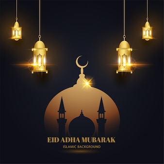イード犠牲祭ムバラク背景モスクとランタンのイスラムデザインのブラックゴールド