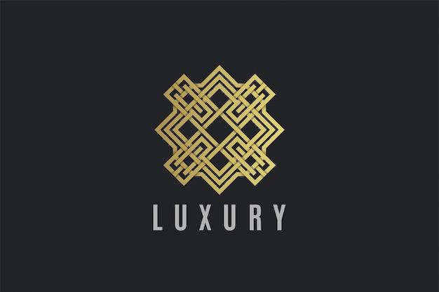 高級飾りラインアートゴールドカラーのロゴのテンプレート