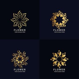 抽象的な黄金の花や飾りのロゴセットのコレクション。ミニマリスト、クリエイティブ、シンプル、デジタル、ラグジュアリー、エレガントでモダンなロゴのテンプレートデザイン。