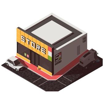 等尺性の店の建物