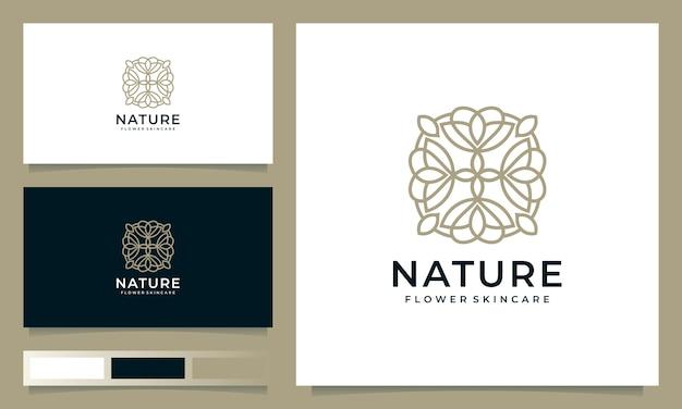 Минималистский цветочный дизайн логотипа, вдохновленный штриховым стилем