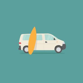 キャンピングカーで旅行します。黄色いサーフボードと白いキャンピングカー