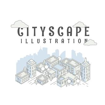 Городской пейзаж изометрии. панорама городской современный городской пейзаж. ландшафтные дома и уличные постройки