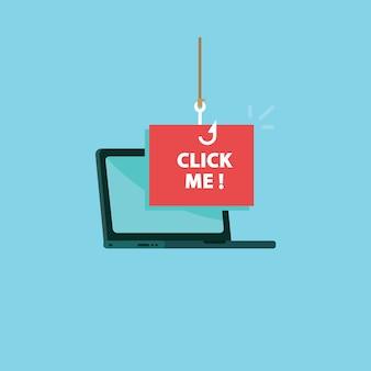 クリックして私のメッセージに釣りフック付きラップトップ
