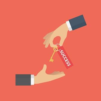 成功への鍵を提供している実業家
