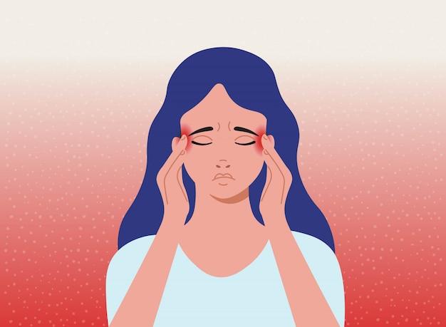 頭痛。頭痛、片頭痛を持つ女性。漫画イラスト。