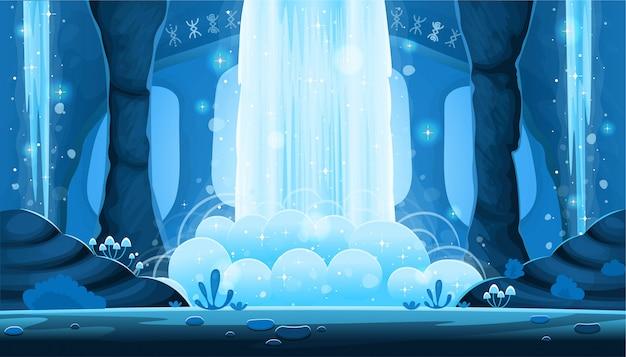 Фон для игр и мобильных приложений. мультфильм ночь пещера с большой водопад бесшовные пейзаж, фон с разлученными слоями.