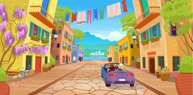 提灯、洗濯物、自転車、車、たくさんの鉢植えの花が付いている通りの上の道路のパノラマ。漫画のスタイルで夏の通りのベクトルイラスト。