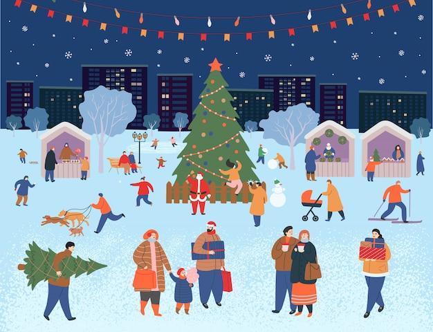 休日の見本市、公園でのクリスマス。冬の人々の大きなセット。歩く人、プレゼントを買う人、コーヒーを飲む人、スケートをする人、スキーをする人、雪だるまを作る人、犬を歩く人。フラット漫画のベクトル図です。