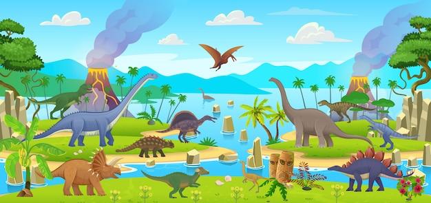 漫画恐竜の大きなセット。テロダクティルス、アンキロサウルス、ステゴサウルス、パキケファロサウルス、スピノサウルス、ティラノサウルス、タルボサウルス、トリケラトプス、ガリミマス、アンフィコエリアス、ディプロドクス、プラテオサウルス