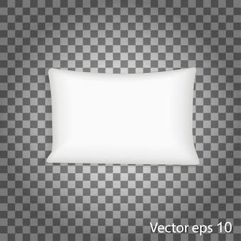 空白の白い正方形の枕。