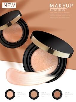 Компактная основа рекламы, привлекательный макияж необходимого продукта