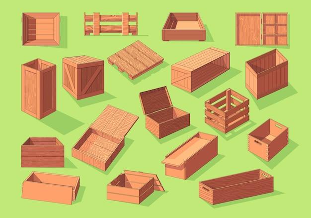 Деревянная коробка изометрические вектор установить значок. контейнеры для перевозки фруктов и овощей на поддонах