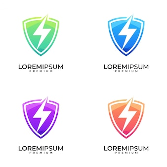 Щит болт красочный логотип дизайн набор