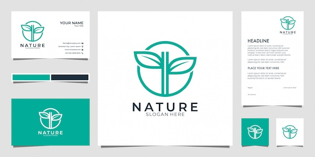 Лист природы логотип. логотипы могут быть использованы для спа, салона красоты, украшения, бутик. и визитка