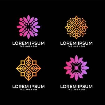 花の幾何学のロゴデザインセット、スパ、サロン、ヨガ、美容、装飾を使用できます。