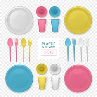 現実的な黄色と白のプラスチック皿のセット