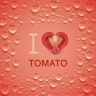 ハート型のトマトとジューシーな滴の明るい赤いポスター。 「トマトが大好き」の碑文。