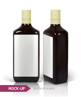 反射と白で隔離暗い現実的な正方形のスコッチボトル。スコッチ、ウイスキー、ブランデーなどの強い飲み物のボトルのデザイン。