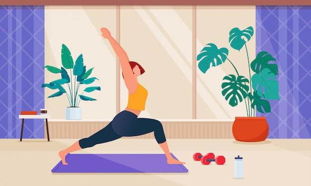 Женский мультипликационный персонаж делает фитнес дома