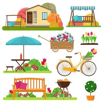 Набор красивой садовой сцены с цветами, велосипед, садовая мебель
