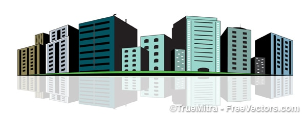 Городских зданий зеленые векторные иллюстрации