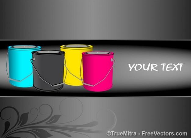 異なる色のペイントバケツ