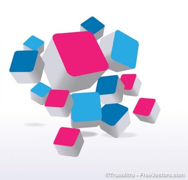 ピンクとブルーのキューブ