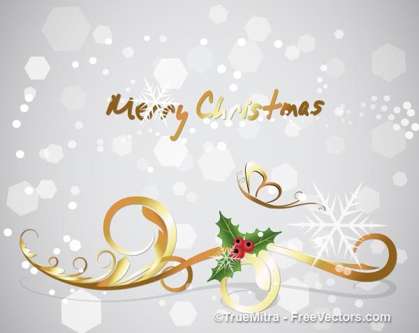 Золотой цветочный рождественский фон
