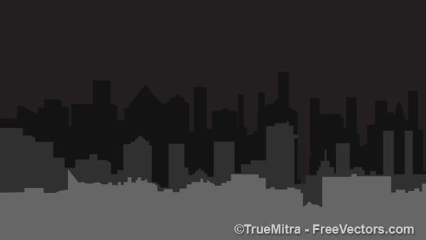 Темные силуэты зданий города