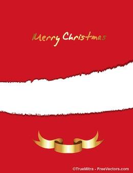 クリスマスリボンの招待カード