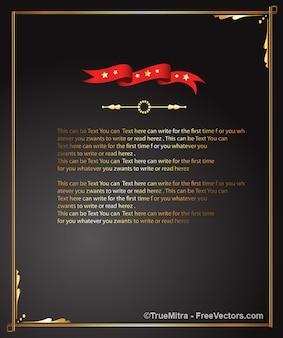 グリーティングカード黒い背景の赤いリボン