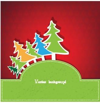 カラフルなクリスマスツリーのペーパーフレーム