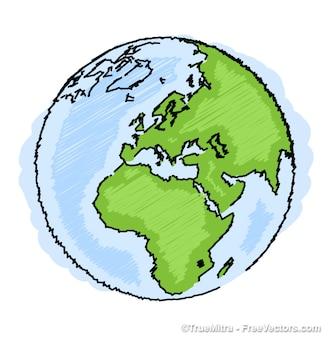 地球の描画アイコンアート背景ベクトルセット