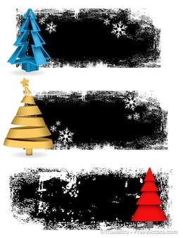 Гранж рождественские баннеры фоны векторный набор