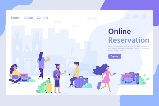 ウェブサイトテンプレート、オンライン予約予約、リンク先ページの旅行と観光の概念
