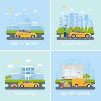 黄色いタクシーをタクシー、市内でタクシーを探して電話を持つ若い男。公共タクシーサービスのコンセプトです。フラットのベクターイラストです。