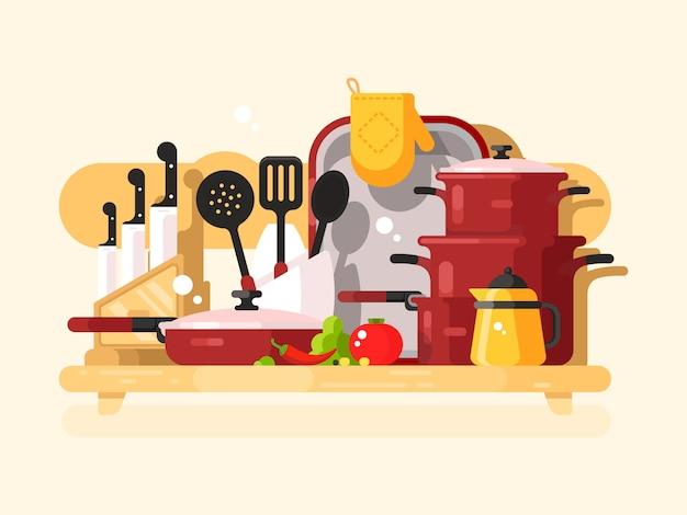 キッチン料理デザインフラット
