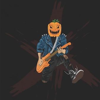Тыква голова рокер для хэллоуина плакат, баннер и футболка