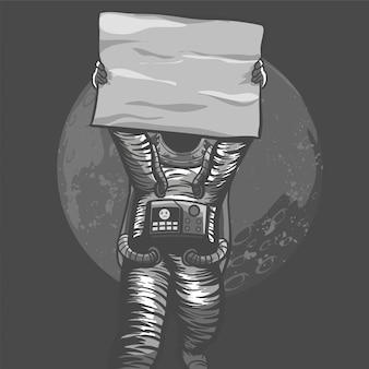 Космонавты протестуют против правительства за справедливость, держа плакат для демонстрации с ручной раскраской и рисованным монохромным стилем