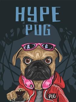 誇大広告スタイルのパグ犬は赤い甘い物、サングラス、ヘッドフォン、真剣な表情を着る