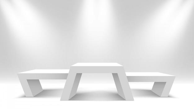 Белые пустые победители подиума. выставочный стенд с прожектором. пьедестал. иллюстрации.