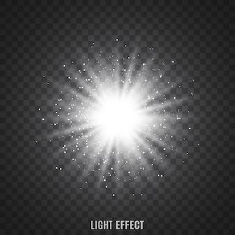 透明な背景に光線。きらめき。星。フレア。